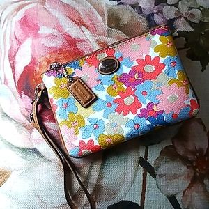 COACH floral leather wristlet